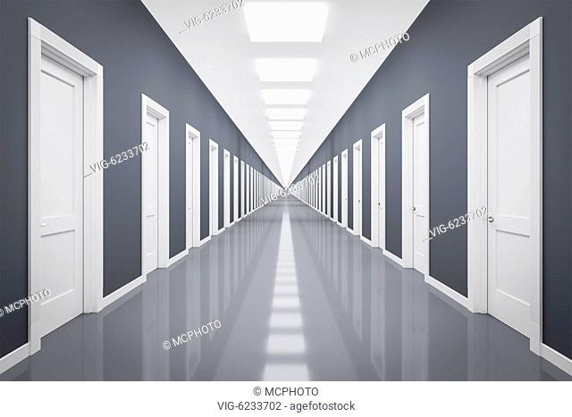 3d rendering of an endless corrior with lots of white doors - 01/01/2018