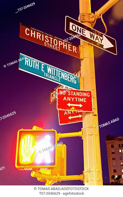 Road signs, West Village, Greenwich Avenue, Lower Manhattan, New York City, New York, USA