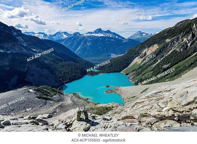 View of all 3 Joffre Lakes from Matier Glacier edge, Joffre Lakes Provincial Park, British Columbia, Canada