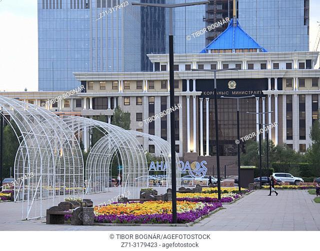 Kazakhstan; Astana; Nurzhol Boulevard, Ministry of Defence,
