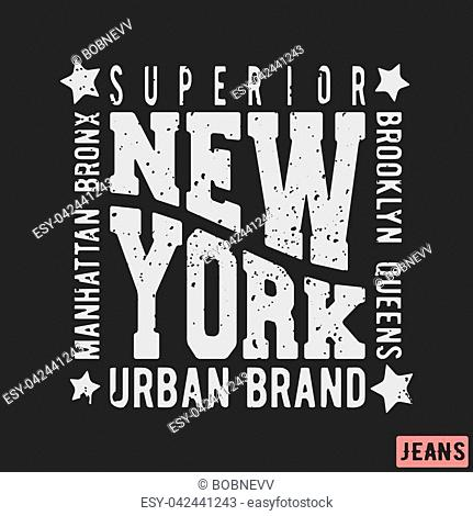 T-shirt print design. New York vintage stamp. Printing and badge applique label t-shirts, jeans, casual wear. Vector illustration