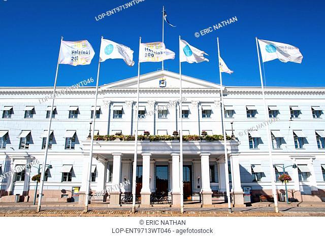 Finland, Uusimaa, Helsinki. The Helsingin Kaupungintalo or Helsinki City Hall in the capital of Finland