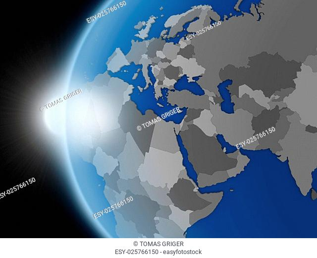 Sunset over planet Earth as if seen from space but with political borders aimed at EMEA region