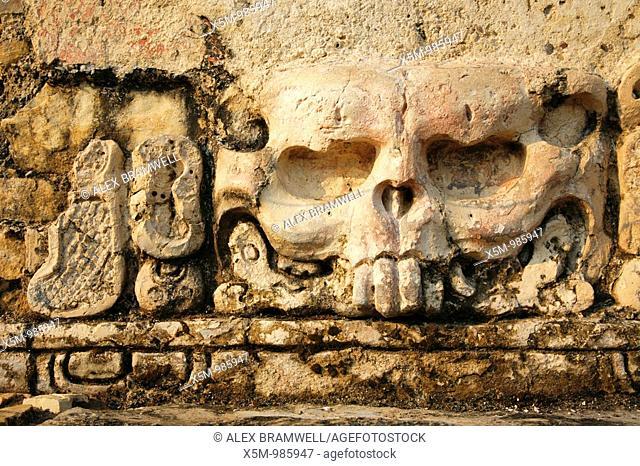 Releif detail from the Grupo de Inscripciones or Inscriptiptions Group at the Palenque Ruins, Chiapas, Mexico