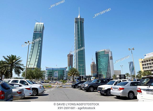 Bahrain Financial Harbour BFH development in Manama, the modern capital of Bahrain. Commercial East and West towers and GB Corp