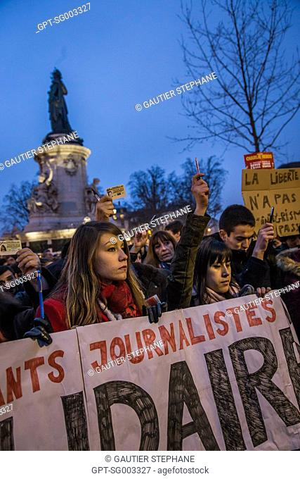 UNPROGRAMMED RALLY IN HOMAGE TO THE VICTIMS OF THE ATTACKS ON THE EDITORIAL OFFICES OF THE NEWSPAPER CHARLIE HEBDO THAT LEFT 12 DEAD, PLACE DE LA REPUBLIQUE