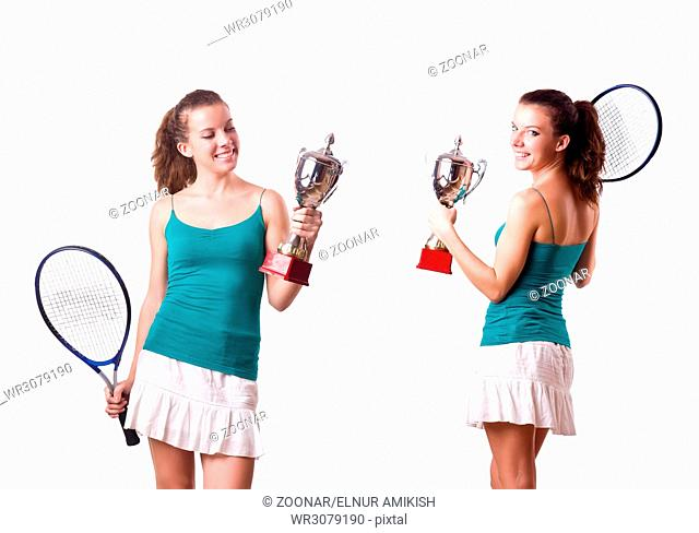Pretty tennis player with cup isolated on white