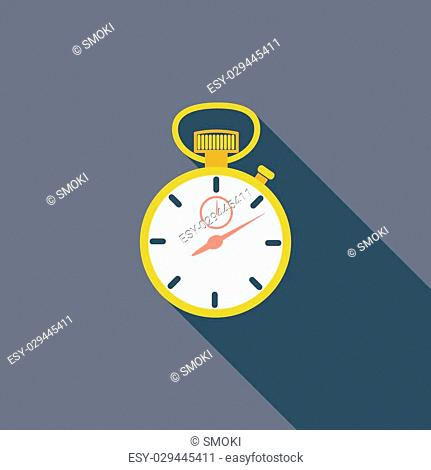 Stopwatch icon. Flat vector related icon with long shadow for web and mobile applications. It can be used as - logo, pictogram, icon, infographic element
