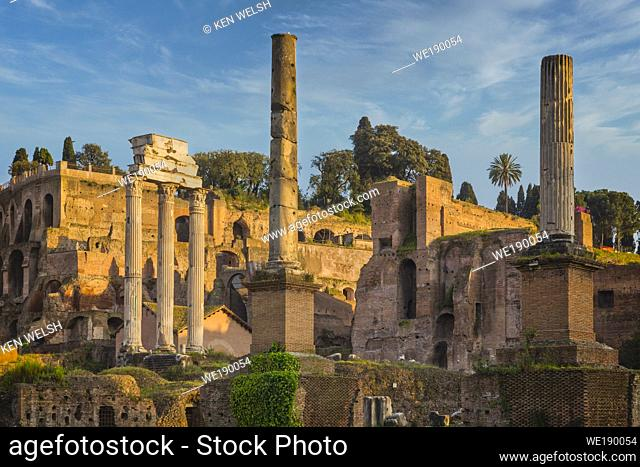 Rome, Italy. The Roman Forum. The three columns on the left are the remains of the Temple of Castor and Pollux (Tempio di Castore e Polluce)