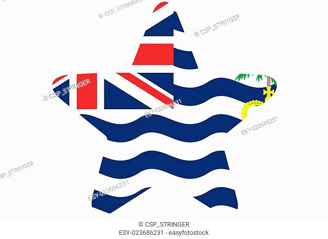 Flag Illustration inside a star of the country of British Indian Ocean Territory