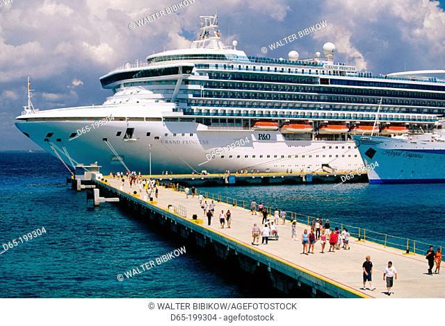 Cruise ship at port. Cozumel island. Quintana Roo. Mexico
