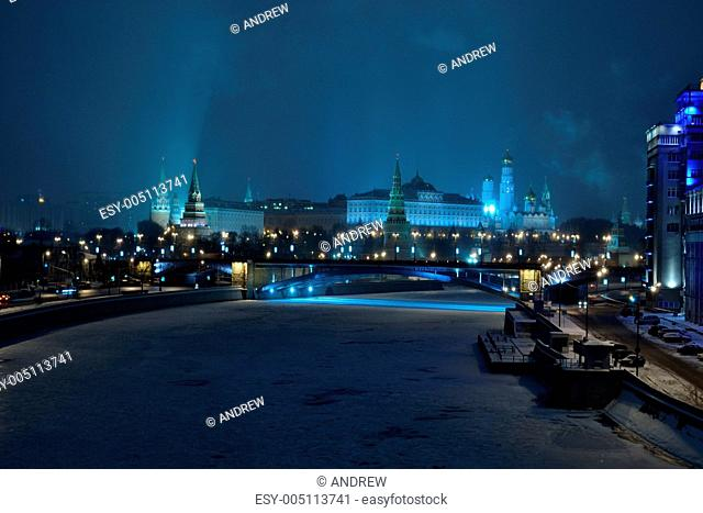 The Moscow river frozen