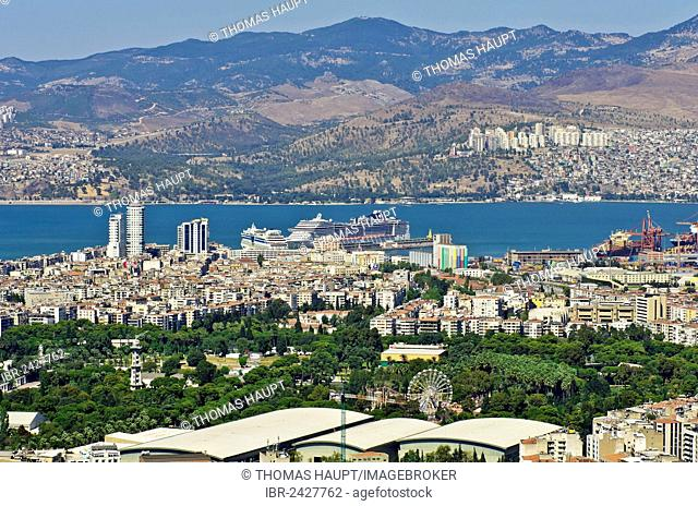 View of Izmir and the harbour as seen from the Asansoer in the Konak district, Izmir, Turkey, Asia