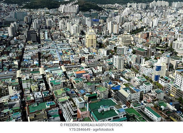 Aerial view of buildings in Busan city,South Korea