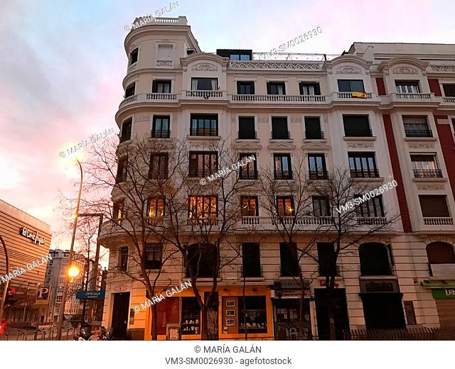 Facade of house, night view. Narvaez street, Madrid, Spain