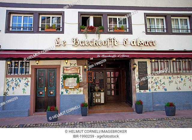 Baeckeoffe Restaurant, an Alsatian specialty restaurant, Rue de Moulin street, Petit France district, Strasbourg, Alsace, France, Europe