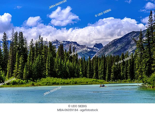 Canada, Alberta, Banff National Park, Banff, Bow River Valley to Mount Bourgeau, View from the Sundance Trail