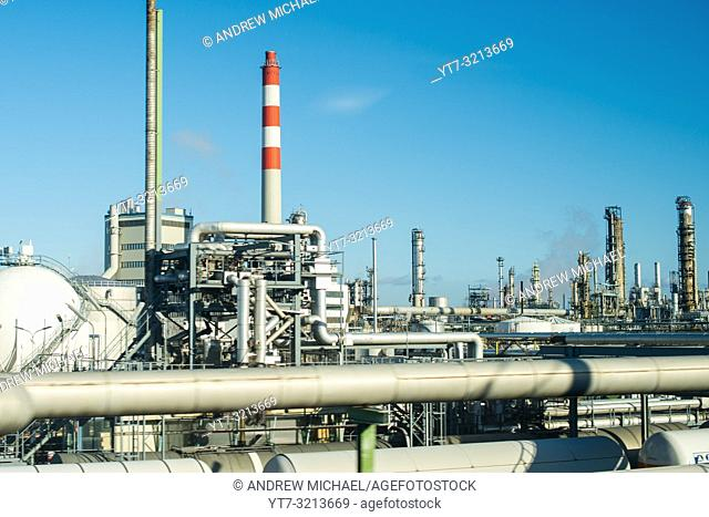 Petrochemical industrial plant own by OMV AG on outskirts of Vienna, Austria