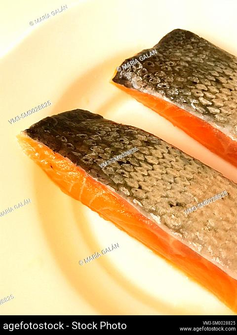 Two salmon loins in a dish