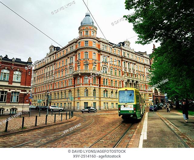 Helsinki, Finland. Tram heading down Yrjonkatu from the corner with Punanotkonkatu in the city centre