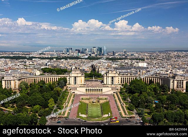 Gardens of the Trocadero and Palais de Chaillot, view from Eiffel Tower, Paris, France, Europe
