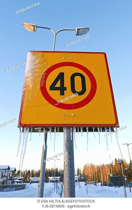 speed limit zone traffic sign, Finland