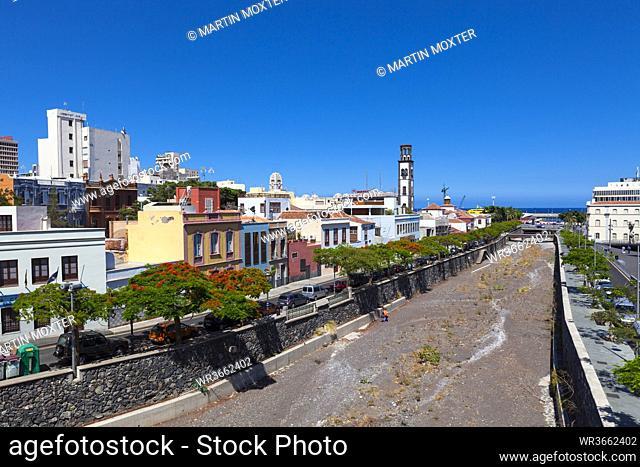 Spain, Santa Cruz de Tenerife, View of bell tower of church
