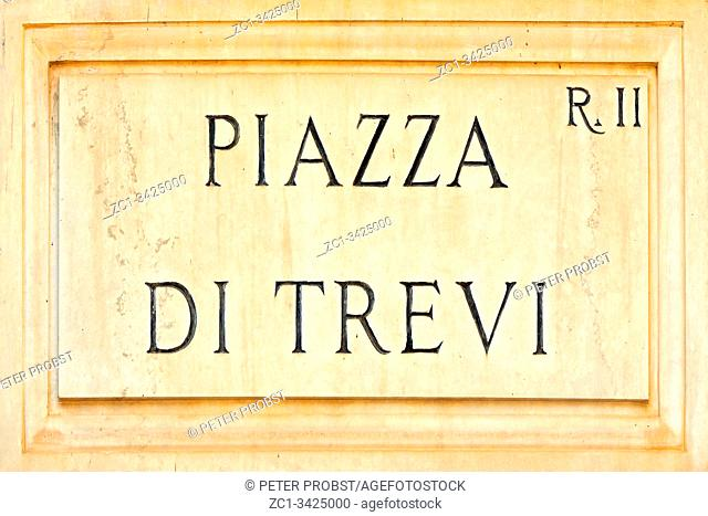 Street sign the Piazza di Trevi in Rome - Italy