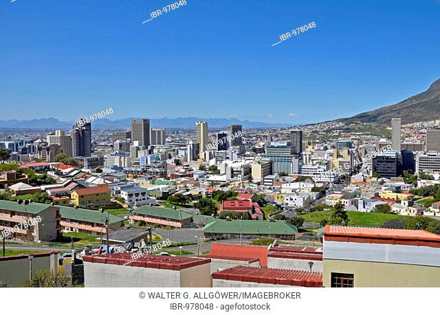 View from Bo-Kaap to the modern city center of Cape Town, South Africa, Africa