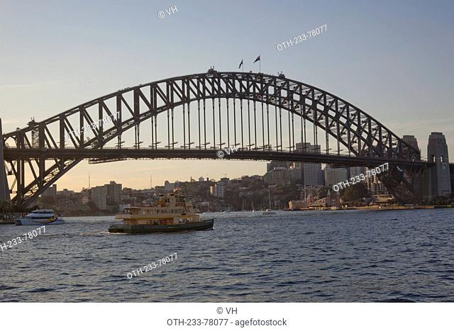 Sydney Harbour Bridge at dusk, Sydney, New South Wales, Australia
