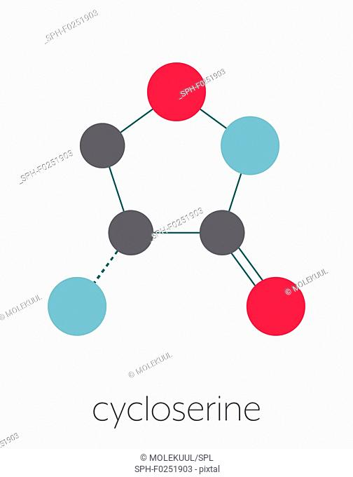 Cycloserine (D-cycloserine) tuberculosis drug molecule. Stylized skeletal formula (chemical structure). Atoms are shown as color-coded circles connected by thin...