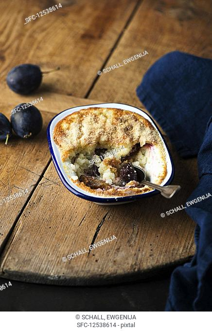 Rice pudding with damsons