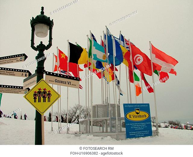 Quebec City, Quebec, Canada, Place Desjardins, Winter Carnival 2006, Flags of the countries, snow