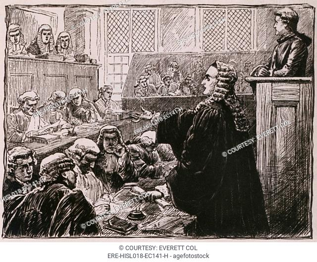 Andrew Hamilton, Peter Zenger's seated, upper right defense lawyer, argues against his guilt for seditious libel against the colonial governor