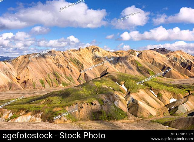 Rhyolite mountains, Landmannalaugar, volcanic, mountains, highlands, view, Iceland, Europe