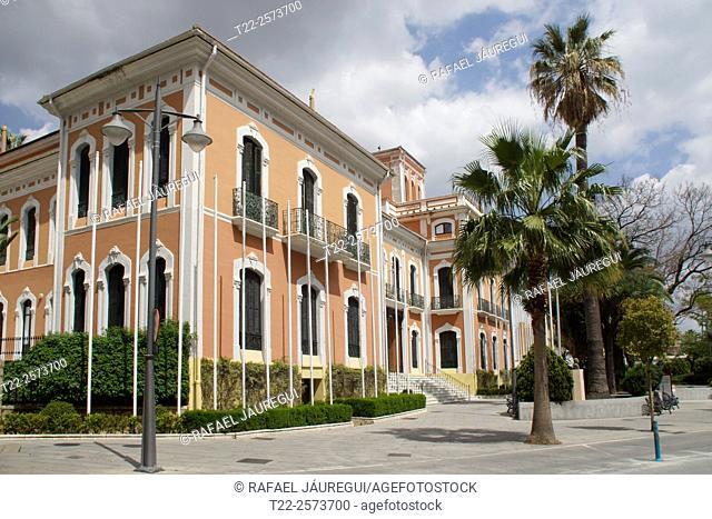 Huelva (Andalusia). Spain. Facade of the Columbus House in the town of Huelva