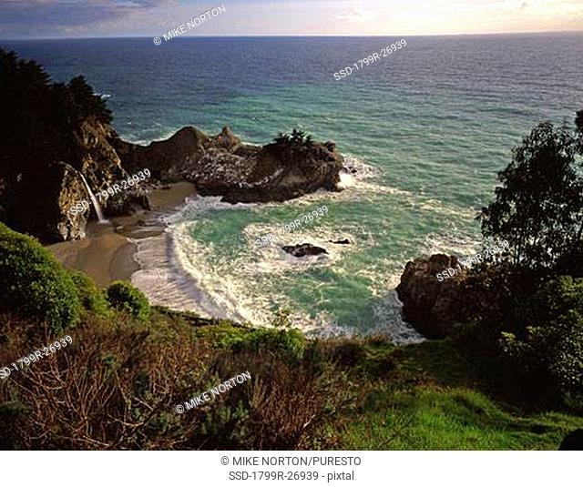 High angle view of a waterfall, McWay Falls, Julia Pfeiffer Burns State Park, Big Sur, California, USA