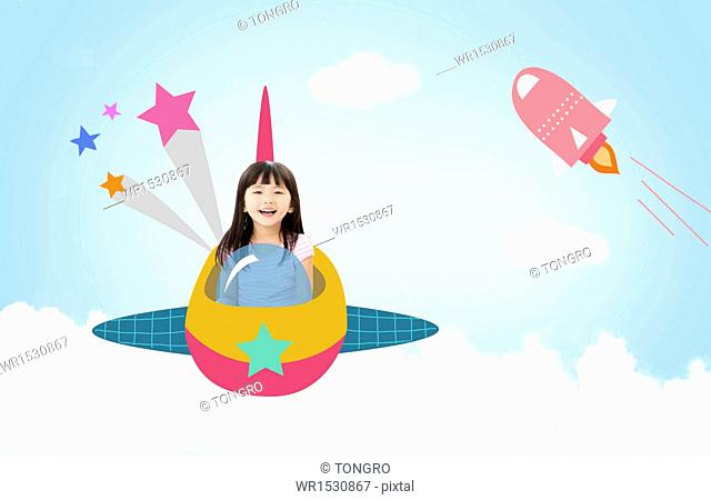 a girl flying a space ship