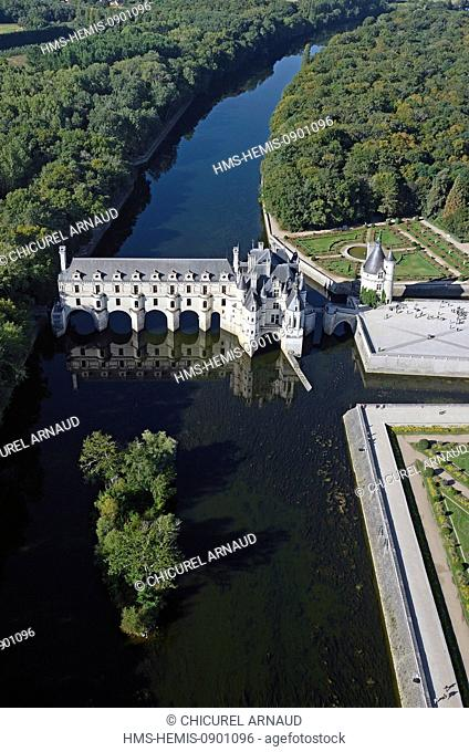 France, Indre et Loire, Loire Castles, Chenonceau, Chateau de Chenonceau built on Cher River (aerial view)