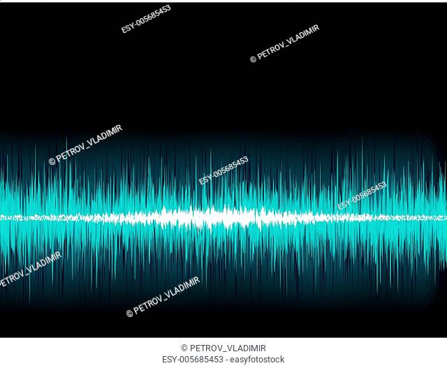 Blue sound wave on white background. + EPS8
