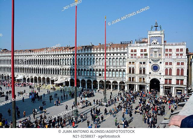 Piazza di San Marco with the Clock Tower - Torre dell'Orologio - on the right. Venice, Veneto, Italy