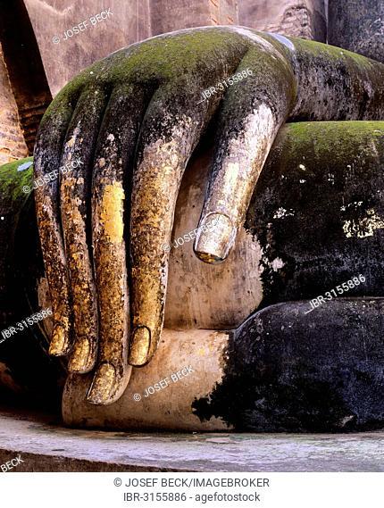 Hand of the Buddha statue Phra Achana, decorated with gold leaf, Wat Si Chum, Sukhothai Historical Park, Sukhothai, Sukhothai Province, Northern Thailand