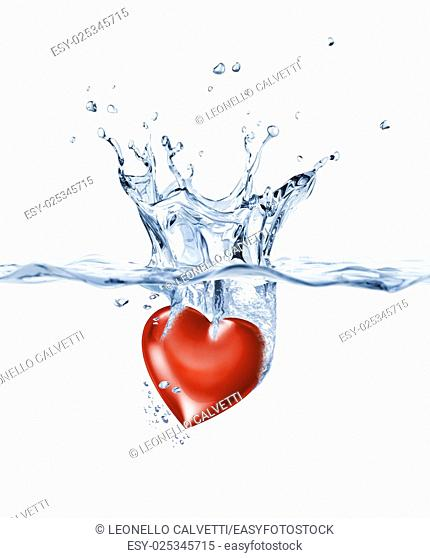 Shining heart, falling into clear water, forming a crown splash
