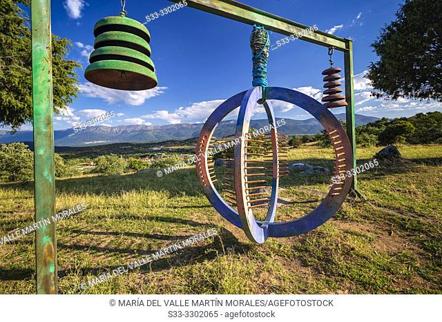 Eco art in Higuera de las Dueñas. and Sierra de Gredos on the background. Avila. Spain. Europe