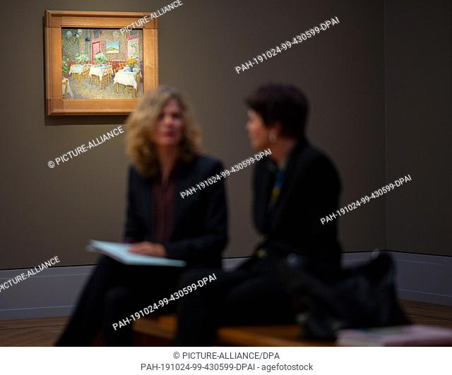 "24 October 2019, Brandenburg, Potsdam: Two women sit after a press conference before the opening of the exhibition """"Van Gogh"