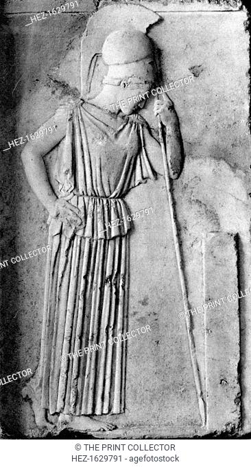 Relief of Athena/Minerva, 5th century BC, (1937). Sculpture of the Ancient Greek goddess Athena mourning, mezzo-relievo from the Acropolis in Athens
