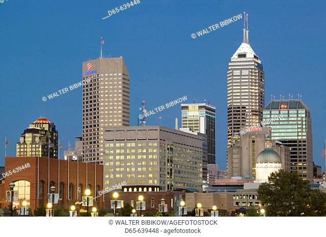 City Skyline from White River Park. Evening. Indianapolis. Indiana. USA