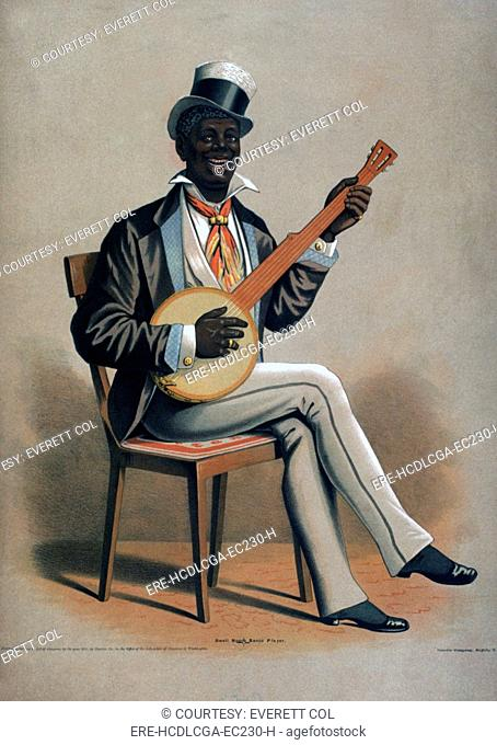 African American man playing the banjo, original title: 'Swell Negro Banjo Player', by Courier Co., 1875