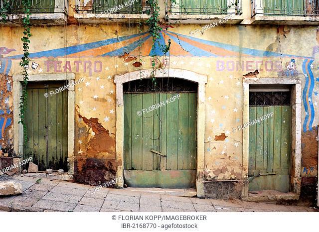 Dilapidated facade of a puppet theatre, UNESCO World Heritage Site, Sao Luis, Maranhao, Brazil, South America
