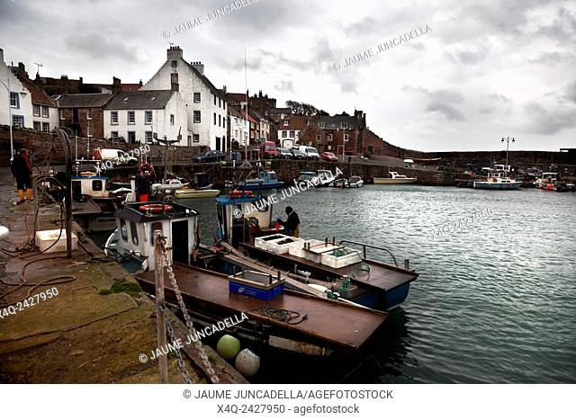 Crail, Scotland-november 02, 2013: Fishermen working on the quay of the small harbor with fishermen and leisure boat at high tide